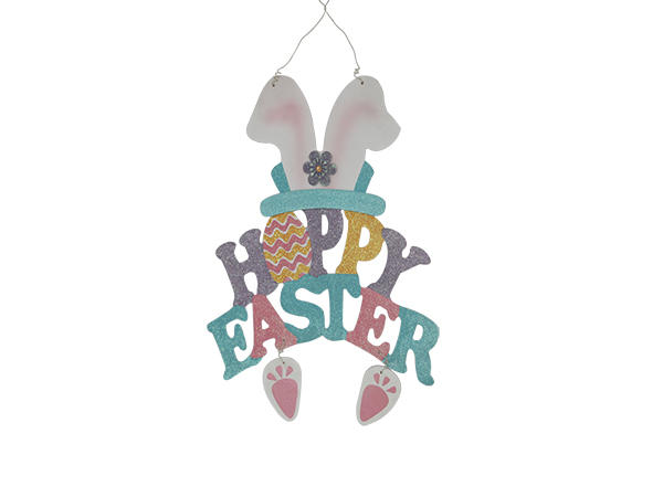 Easter wooden text pendant